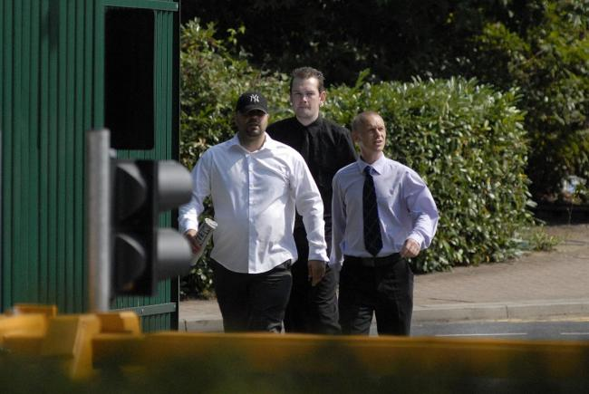 EDL members Christopher Long, Bryan Kelso and Brian Bristow arriving at Woolwich Crown Court