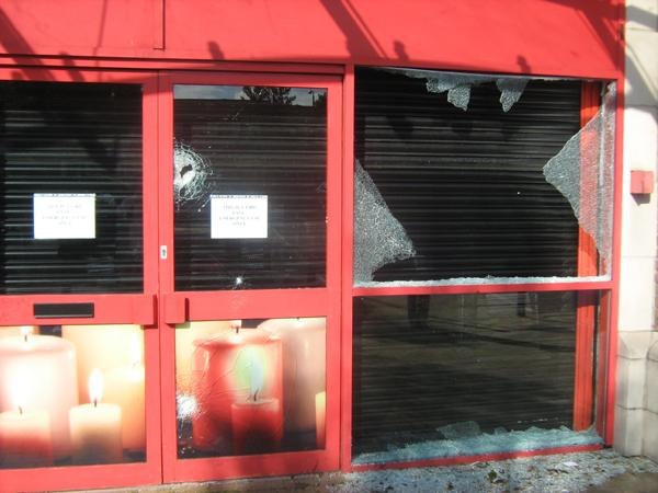 The entrance to Matalan in Sutton was targeted