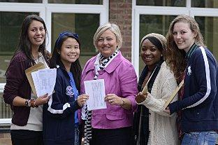 Celebrations at Ursuline High School in Wimbledon - Isil Mirzanli, Rainbow Lo, headteacher Julia Waters, Precious McCarthy and Guenna Forbes