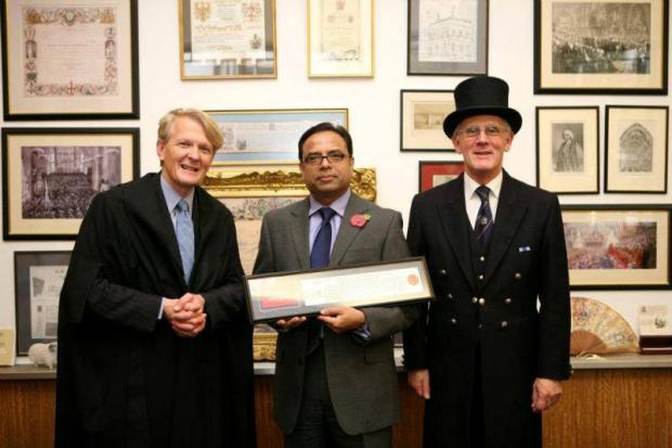 Epsom restaurateur awarded Freedom of the City of London