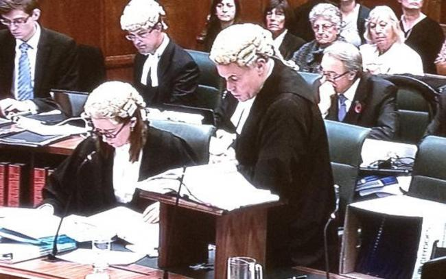 Shirley Denson (rear right) watches as James Dingemans QC puts forward nuclear veterans' case at Supreme Court