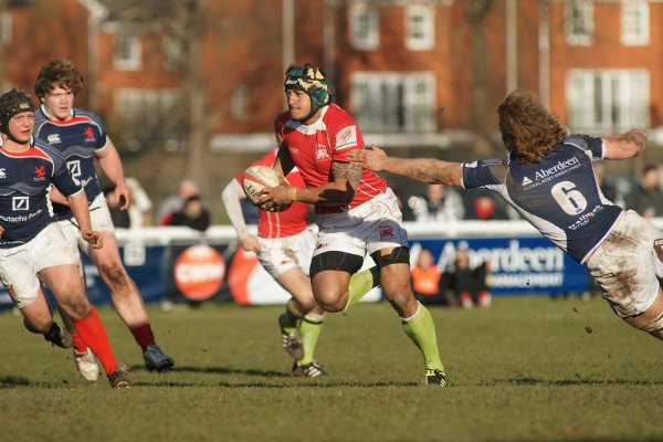 On the charge: Welsh star Hudson Tonga'huia bursts through the London Scottish defence on his way to the try line in Sunday's 29-22 win