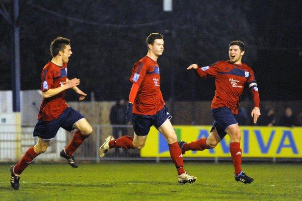 Goal man: Reece Jones celebrates his strike against Dover Athletic on Tuesday night