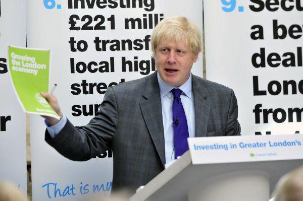 Mayor of London Boris Johnson in Purley