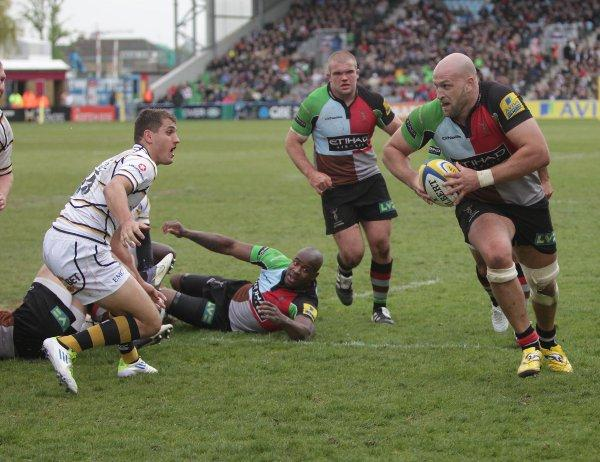 White line fever: Quins lock Geoge Robson heads to the try line in Satruday's win over Wasps