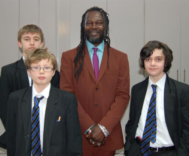 Students visited by sauce creator Levi Roots