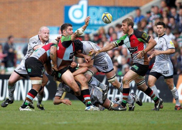 Final stretch:  Nick Easter off-loads in Saturday's 43-33 defeat to Leicester Tigers at the Stoop