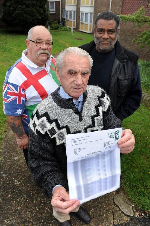 (L-R) Keith Dickinson, Len Matterfaceare and Mohammed John Mohammed are concerned by their letters