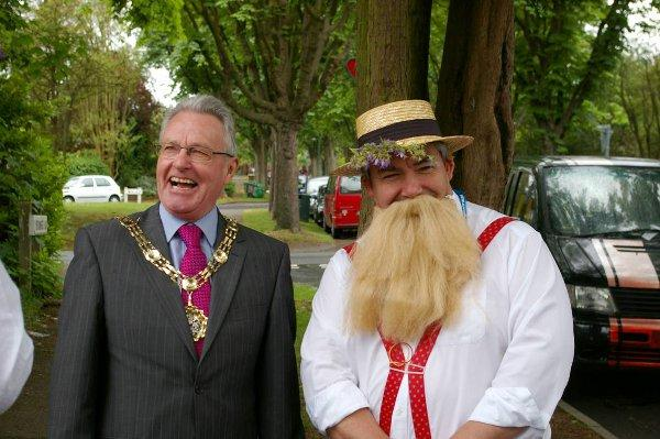Councillor Tim Crowley shares a laugh Mayor Sean Brennan.