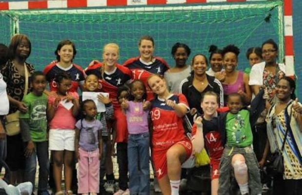 British handball players with members of the Sage Educational Trust