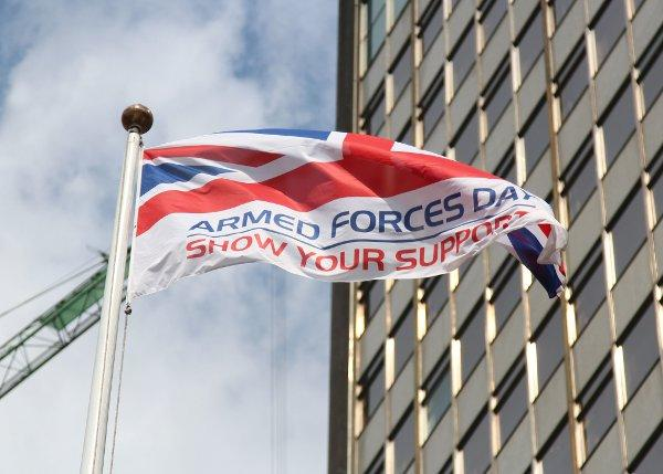 A flag was raised outside Croydon Council offices for Armed Forces Week
