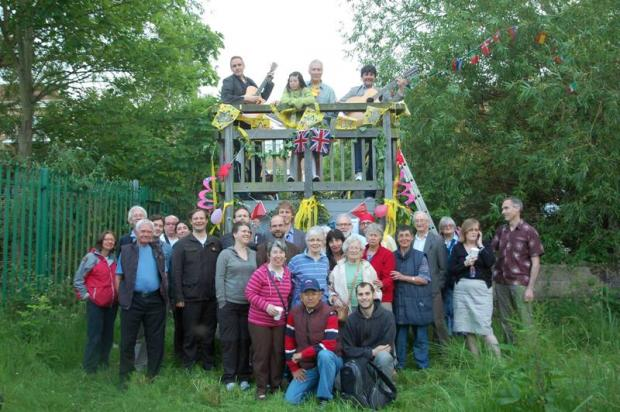 Colliers Wood residents marked the fifth year of the unfinished bridge (Picture: Auriel Glanville)