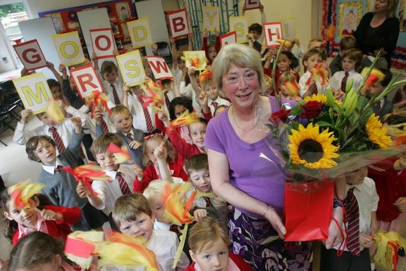 Dedicated: Pam Walsh with adoring pupils