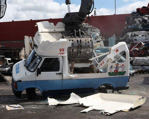 The illegal ice cream van was crushed by Lambeth Council