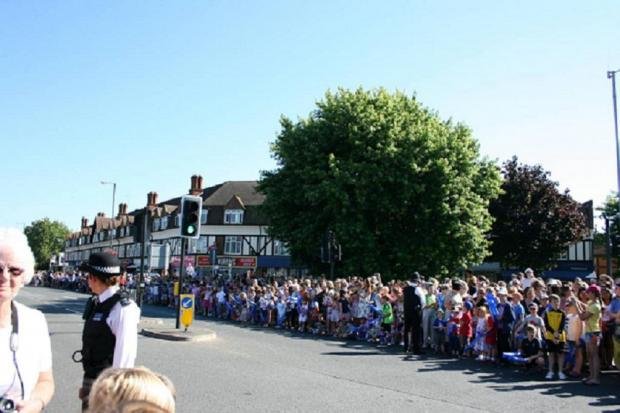 Crowds at the Olympic torch relay in Kingston
