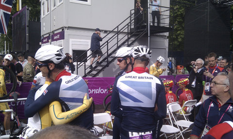 Team GB cyclists before Olympics road race