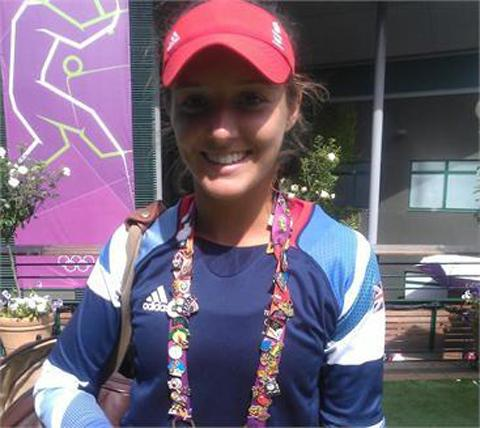 Laura Robson with her collection of pin badges