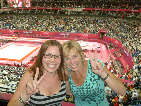 Linda and Lianne Arnold watching the gymnastics