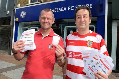 Blues on the doorstep: Ks boss Alan Dowson and fan Dave Beaupre