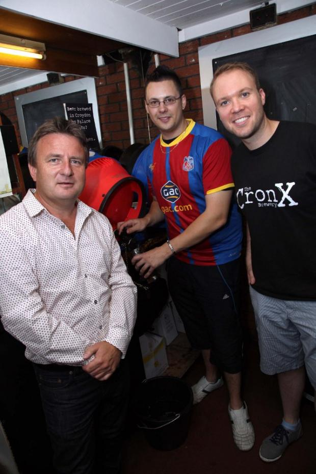 Crystal Palace co-Chairman Stephen Browett with Cronx brewers Mark Russell and Simon Dale