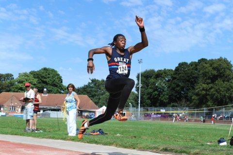 Jamal Rhoden-Stevens goes in the triple jump during the open track and field meeting on Saturday   SP68727