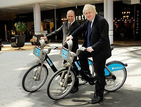 Boris Johnson with the Barclays-sponsored bicycles, which are not coming to Croydon