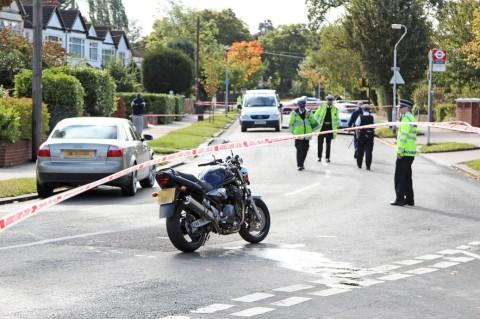 The motorcyclist was airlifted to hospital from Croydon this morning