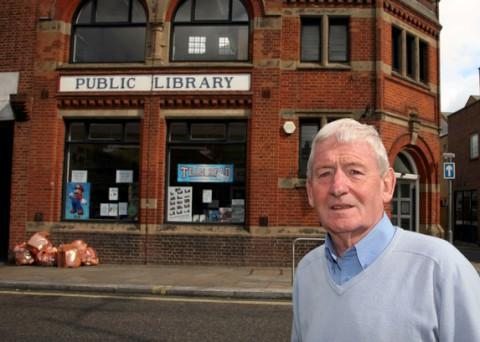 Councillor Pat Ryan outside Upper Norwood library