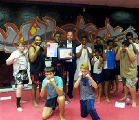 Gavin Barwell visited the Thai Boxing Community centre