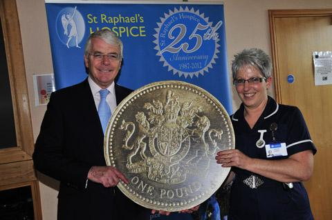 Sir John Major with Pauline Morris at the opening of the newly refurbished centre at St Raphael's Hospice