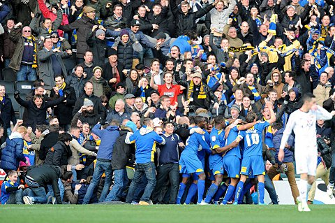 Your Local Guardian: Dons hysteria: AFC Wimbledon players and fans alike celebrate the moment Jack Midson's header brought the scores all level at Stadium MK on an afternoon of high emotion and cruel heartbreak                               				Picture: Press Association