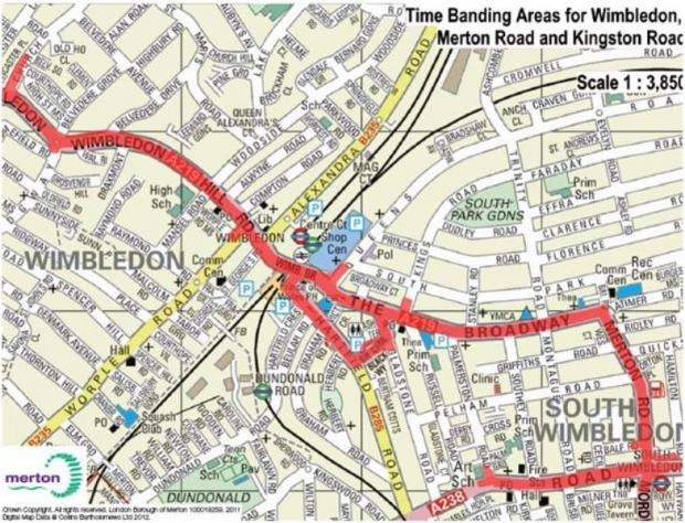 Red highlighted roads outlining proposed trial area