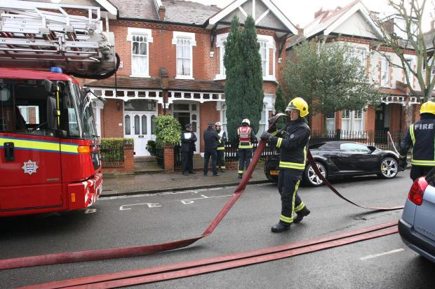 Firefighters at Holroyd Road this morning