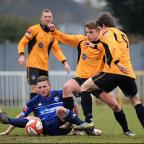 Grounded: Billy Crook battles for possession in the 4-2 defeat to Cray    SP74686
