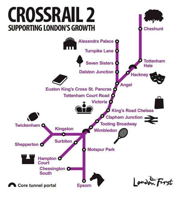 The planned Crossrail 2 route