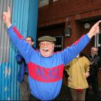 Joy: A Crystal Palace fan celebrates news of the club's survival in 2010. Three years later, the club are on the brink of the Premier League