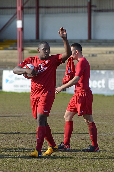 Hitman: Nathaniel Pinney celebrates a hat-trick in the red of the Robins   SP75263