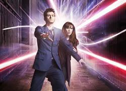 Catherine Tate as the Doctor's assistant Donna Noble with David Tennant who plays the Doctor pic: BBC