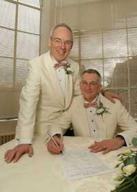 Hitched: Roger Burg and Ross Burgess became one of the first gay couples to tie the knot