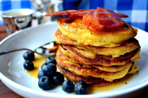 Your Local Guardian: A blue and white tablecloth used as a backdrop to these pancakes