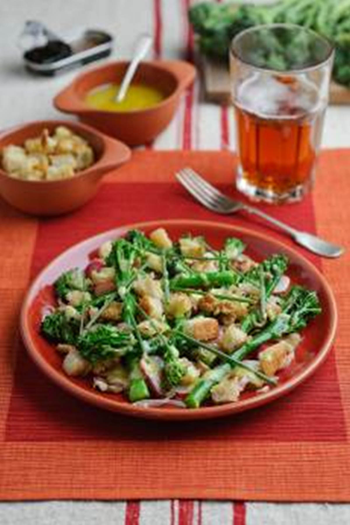 Recipe: Tenderstem broccoli with shallot vinaigrette and croutons ...