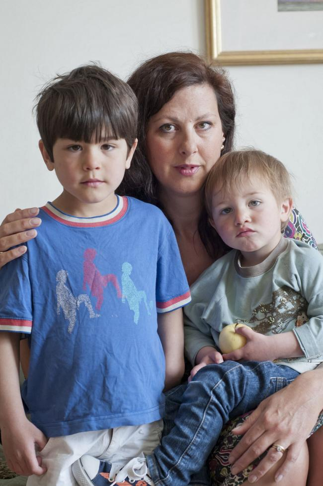 Campaigner Kathy McGuinness with her two sons James and Daniel