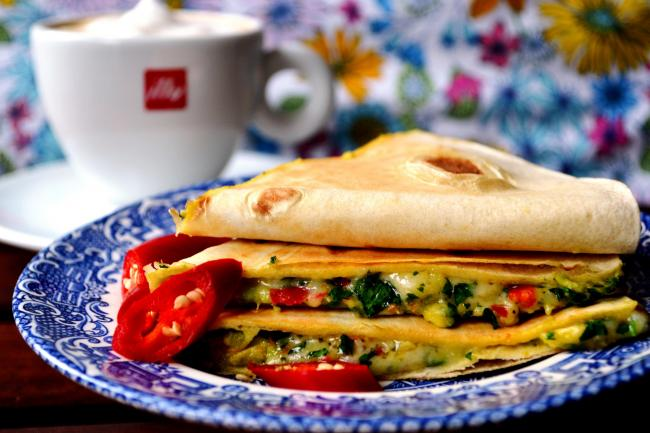 Try these breakfast quesadillas with coffee! I've discovered that a hot mouth from chillies combined with coffee is a flavour combination that works spectacularly together.