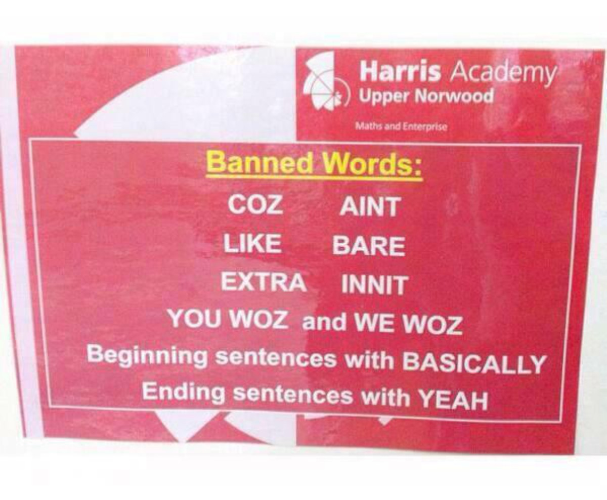'Like', 'innit' and 'bare' among slang words banned by academy