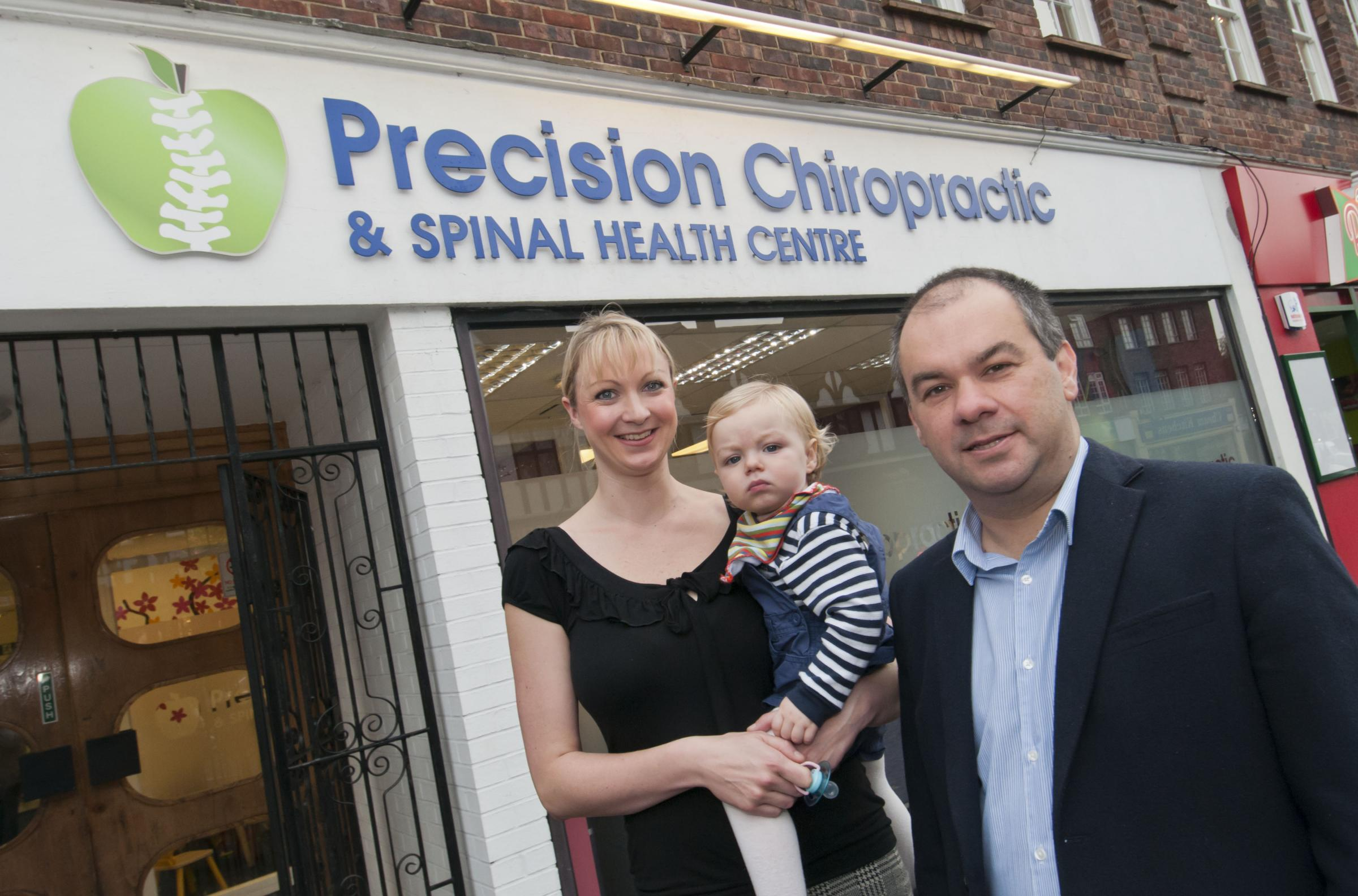 Paul Scully with Kate Irwin of Precision Chiropractic and baby George Irwin-Smith