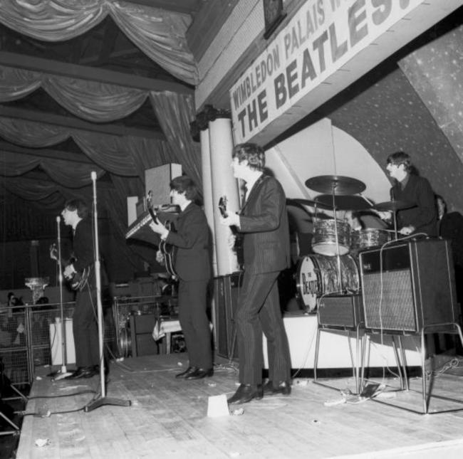The Beatles on stage at the Wimbledon Palais