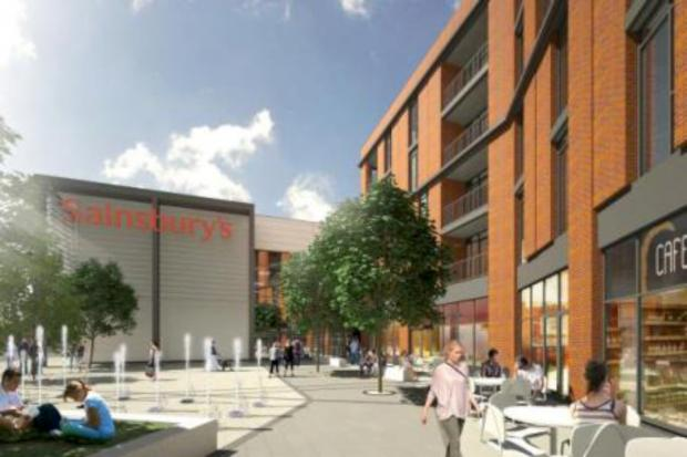 The redevelopment includes a new Sainsbury's supermarket and 186 new homes