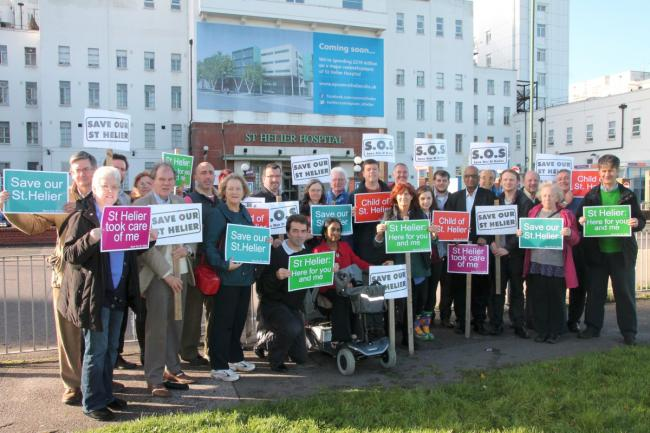 Carshalton and Wallington MP Tom Brake with campaigners outside St Helier hospital