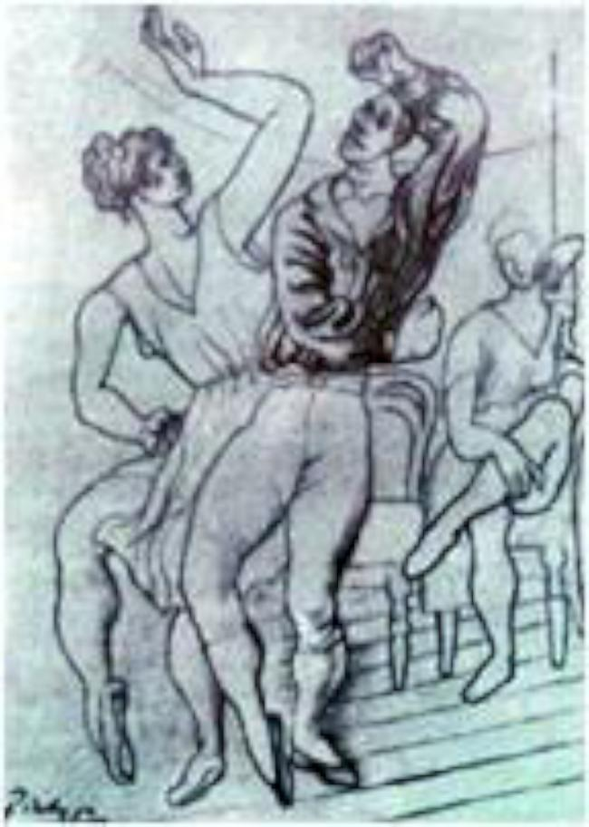 Picasso sketched Felix el Loco dancing with Nemtchinova during rehearsals in 1919