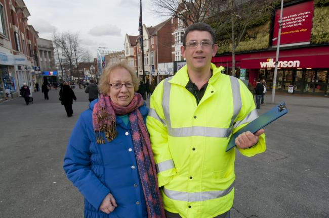 Enforcement officer Chris Christofis with Councillor Jill Whitehead